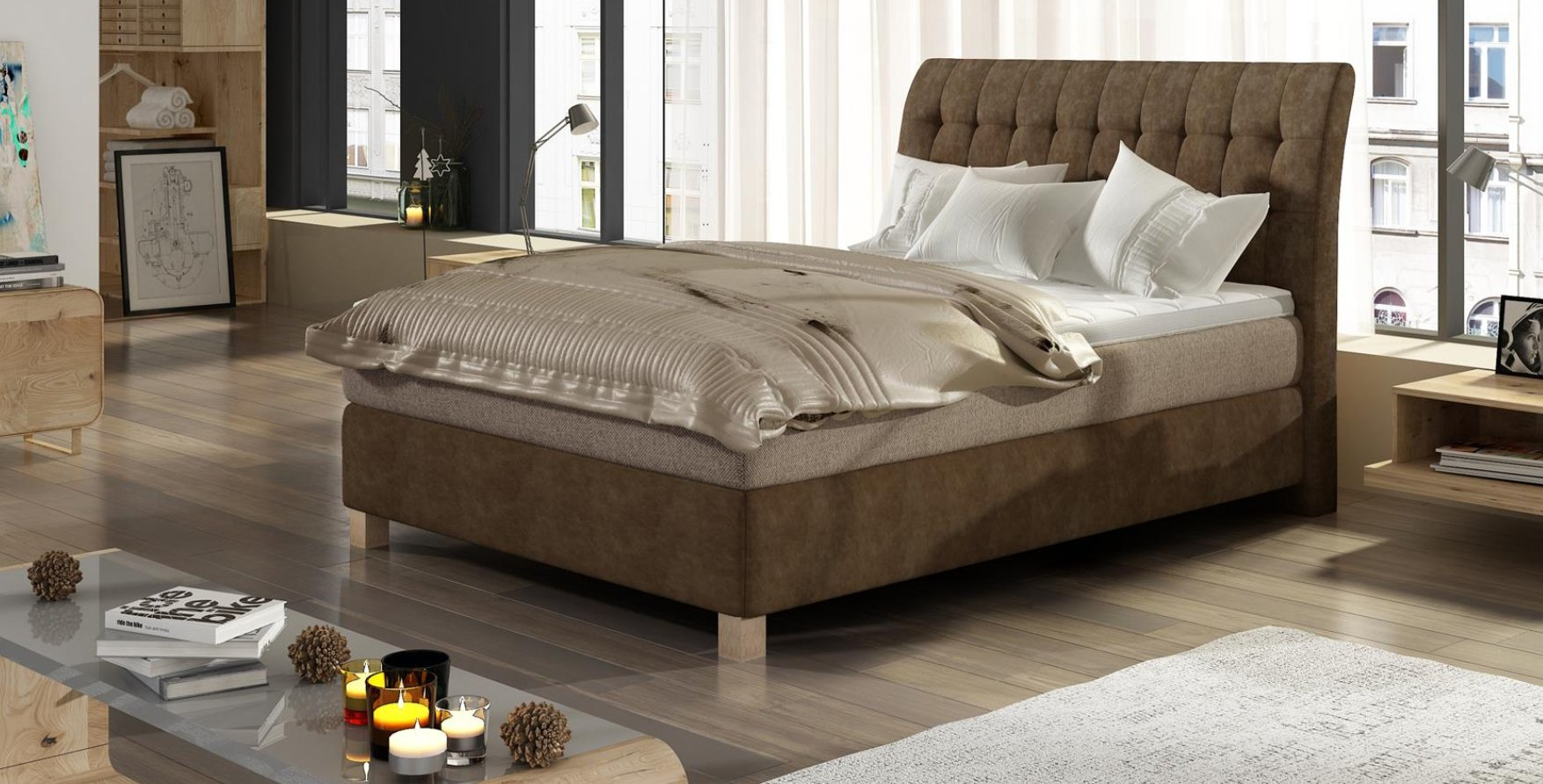 BOXSPRING BORDO (140/200)